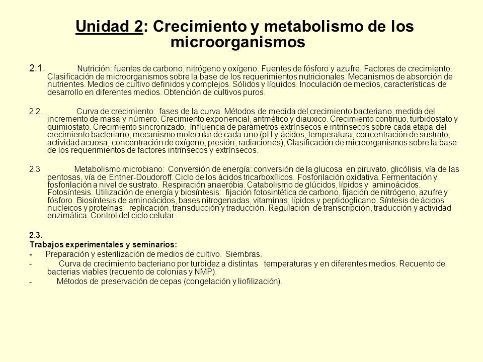 Unidad 2: Crecimiento y metabolismo de los microorganismos