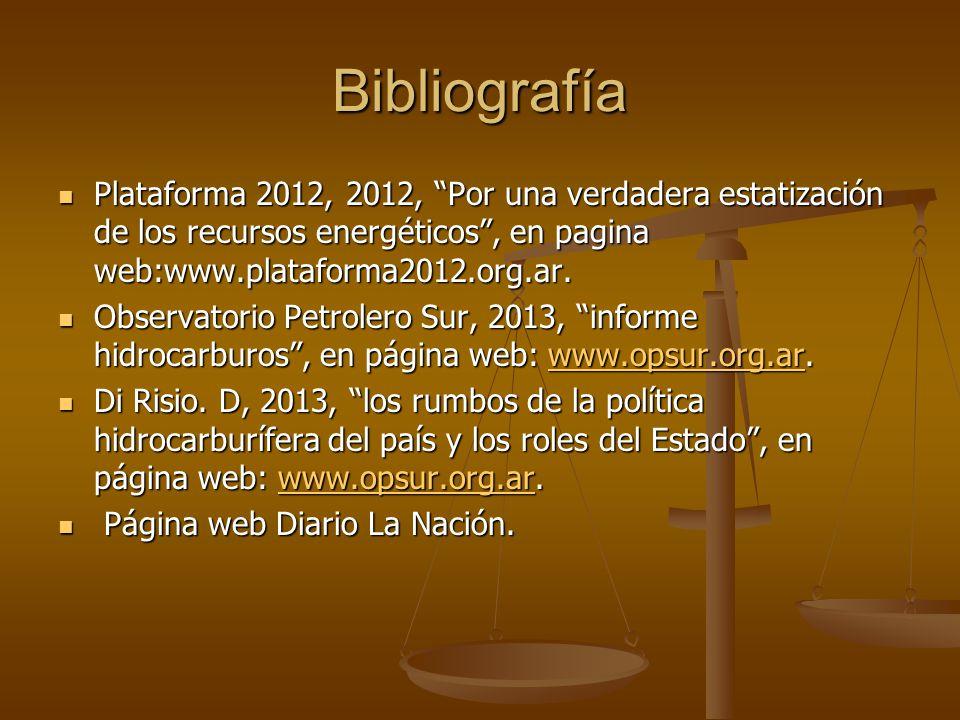 Bibliografía Plataforma 2012, 2012, Por una verdadera estatización de los recursos energéticos , en pagina web:www.plataforma2012.org.ar.