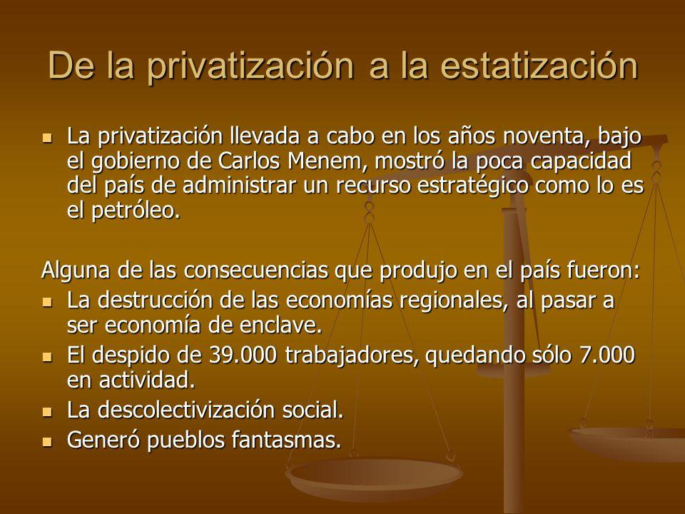De la privatización a la estatización