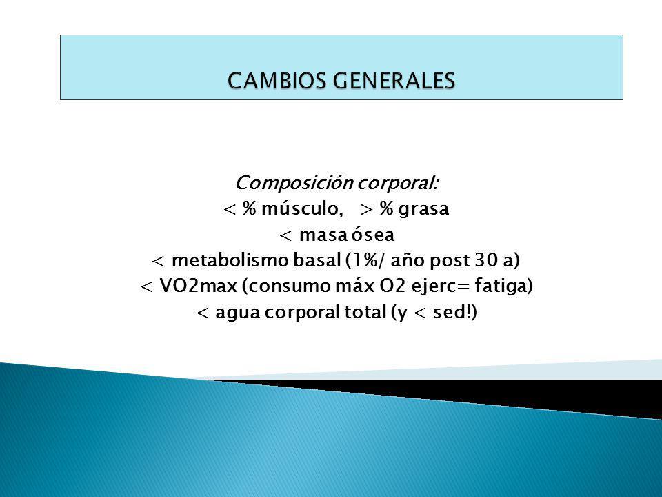 CAMBIOS GENERALES Composición corporal: < % músculo, > % grasa