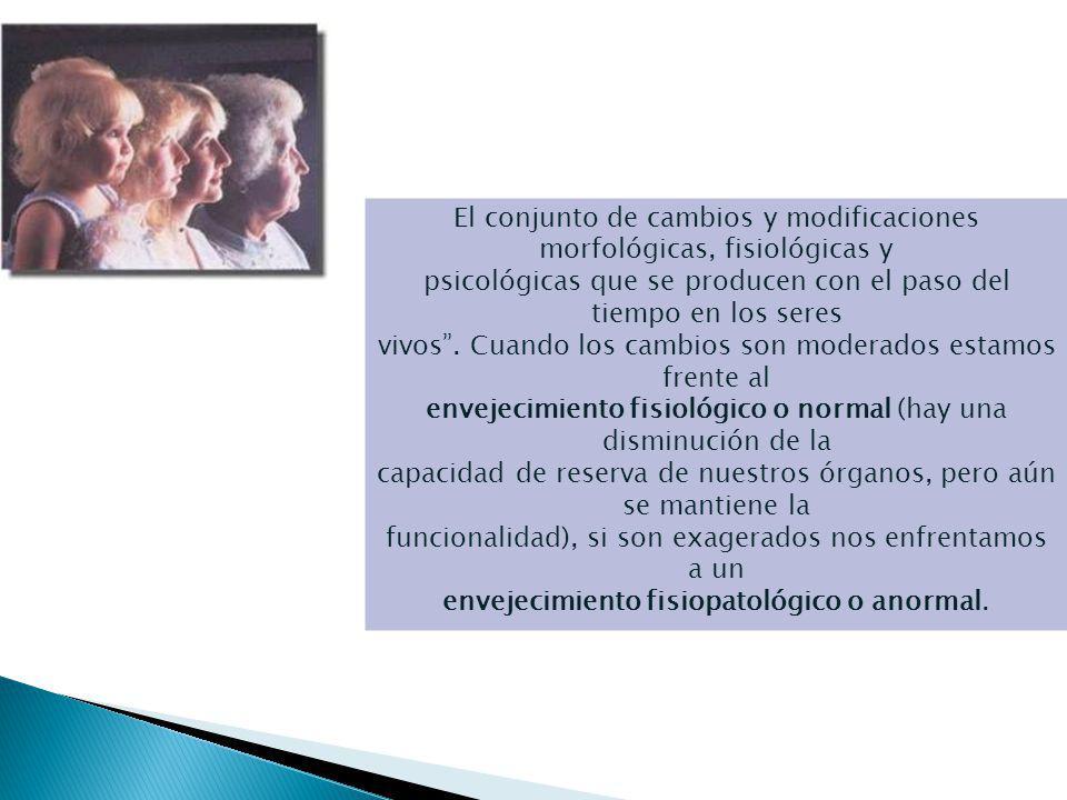 El Envejecimiento El conjunto de cambios y modificaciones morfológicas, fisiológicas y.