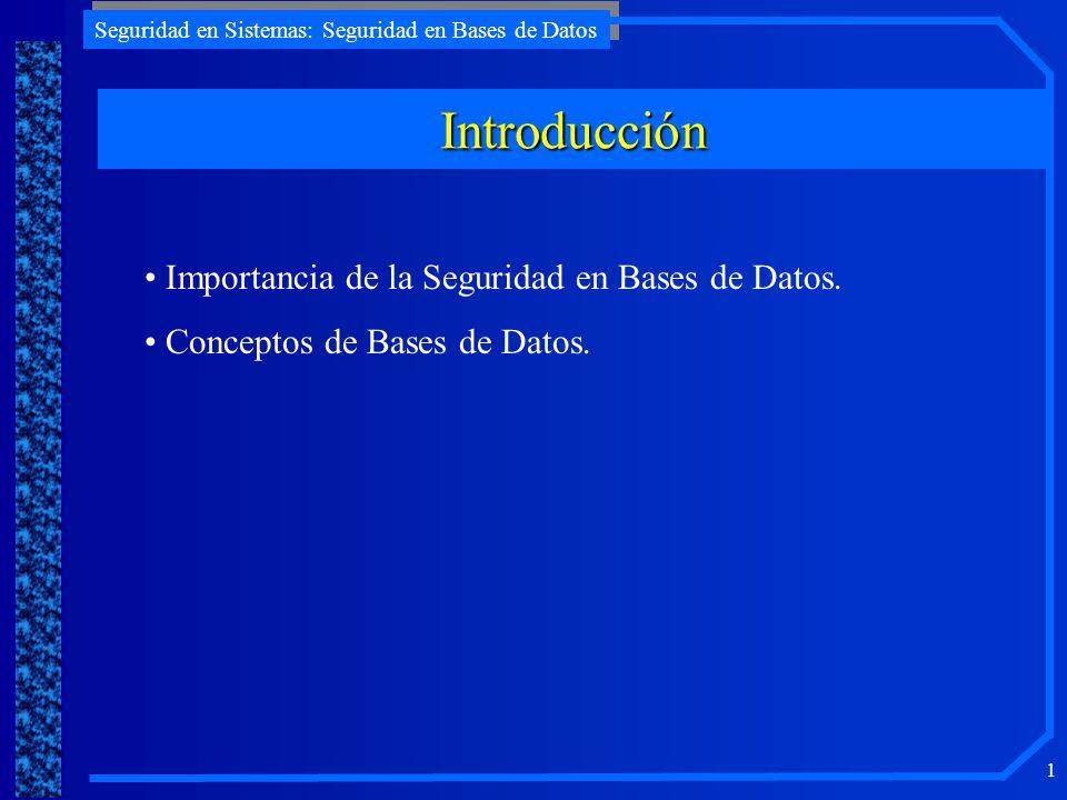 Introducción Importancia de la Seguridad en Bases de Datos.