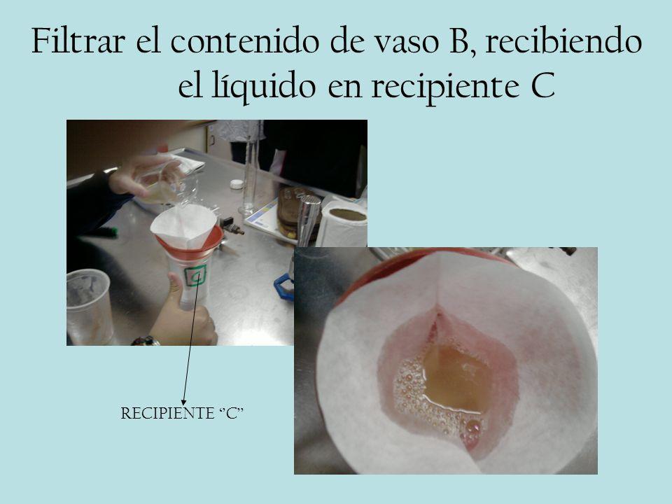 Filtrar el contenido de vaso B, recibiendo el líquido en recipiente C