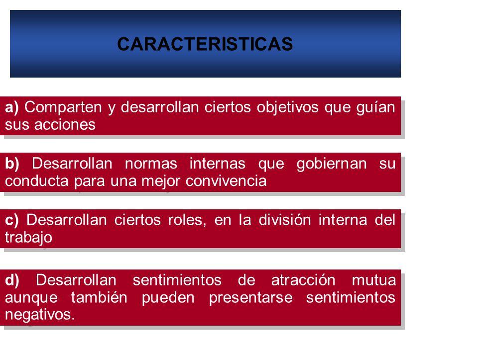 CARACTERISTICAS a) Comparten y desarrollan ciertos objetivos que guían sus acciones.