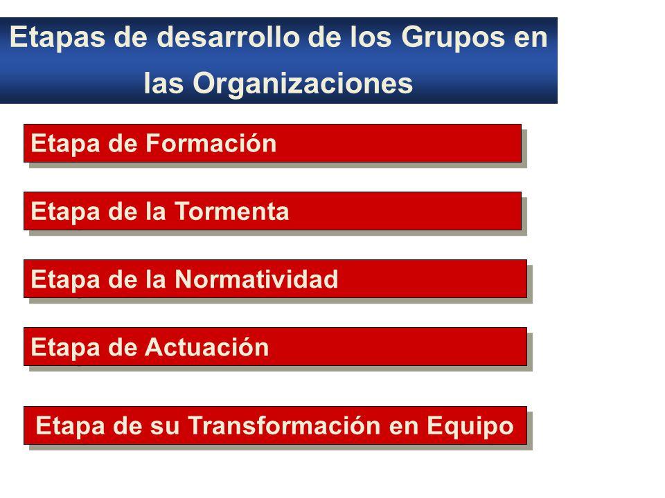 Etapas de desarrollo de los Grupos en las Organizaciones