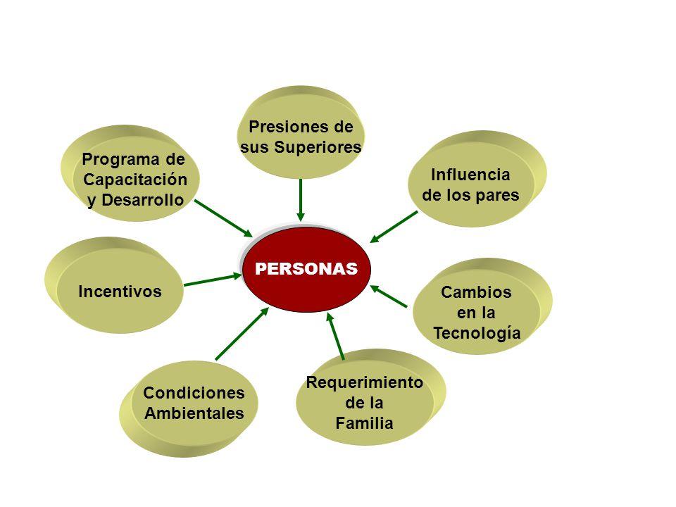 Presiones de sus Superiores. Programa de. Capacitación. y Desarrollo. Influencia. de los pares.