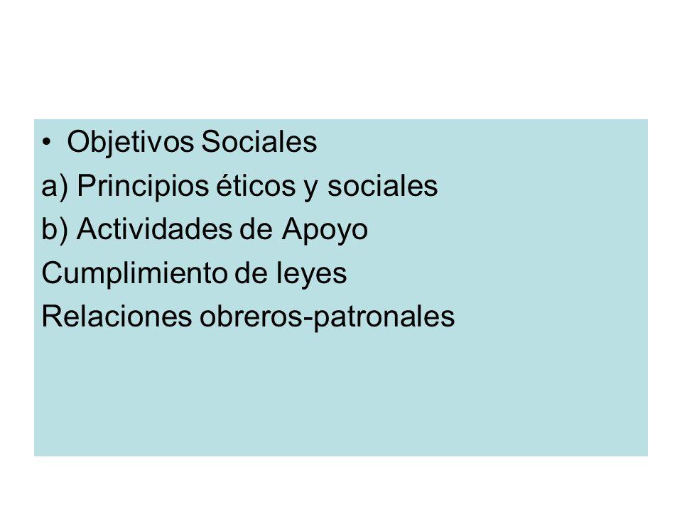 Objetivos Sociales a) Principios éticos y sociales. b) Actividades de Apoyo. Cumplimiento de leyes.