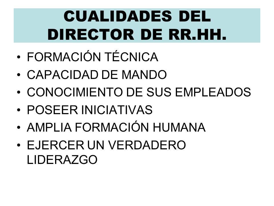 CUALIDADES DEL DIRECTOR DE RR.HH.