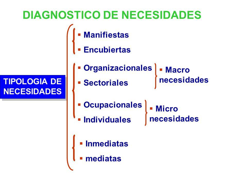 DIAGNOSTICO DE NECESIDADES TIPOLOGIA DE NECESIDADES