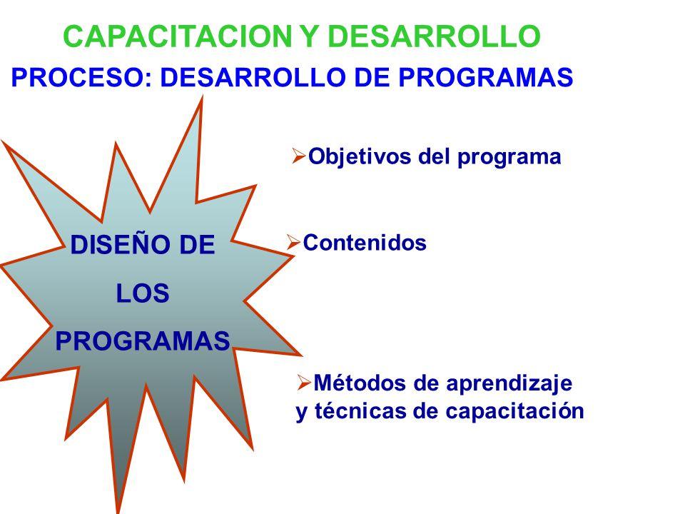 CAPACITACION Y DESARROLLO PROCESO: DESARROLLO DE PROGRAMAS