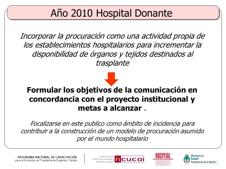 Año 2010 Hospital Donante
