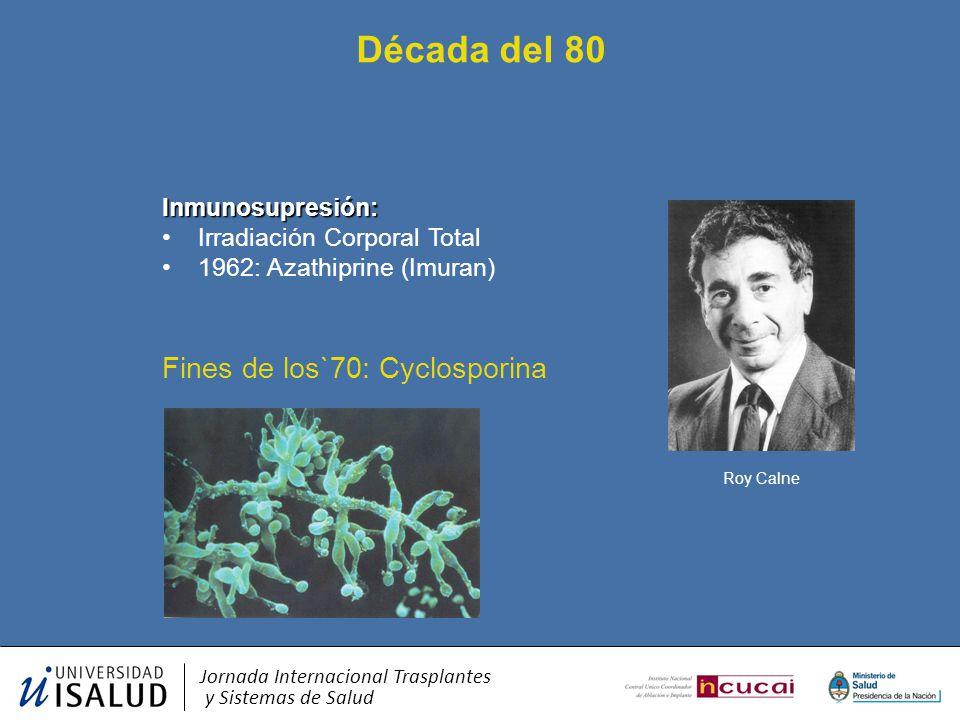 Década del 80 Fines de los`70: Cyclosporina Inmunosupresión: