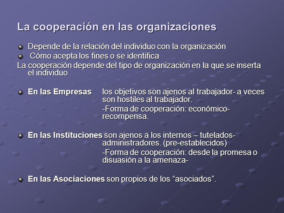 La cooperación en las organizaciones