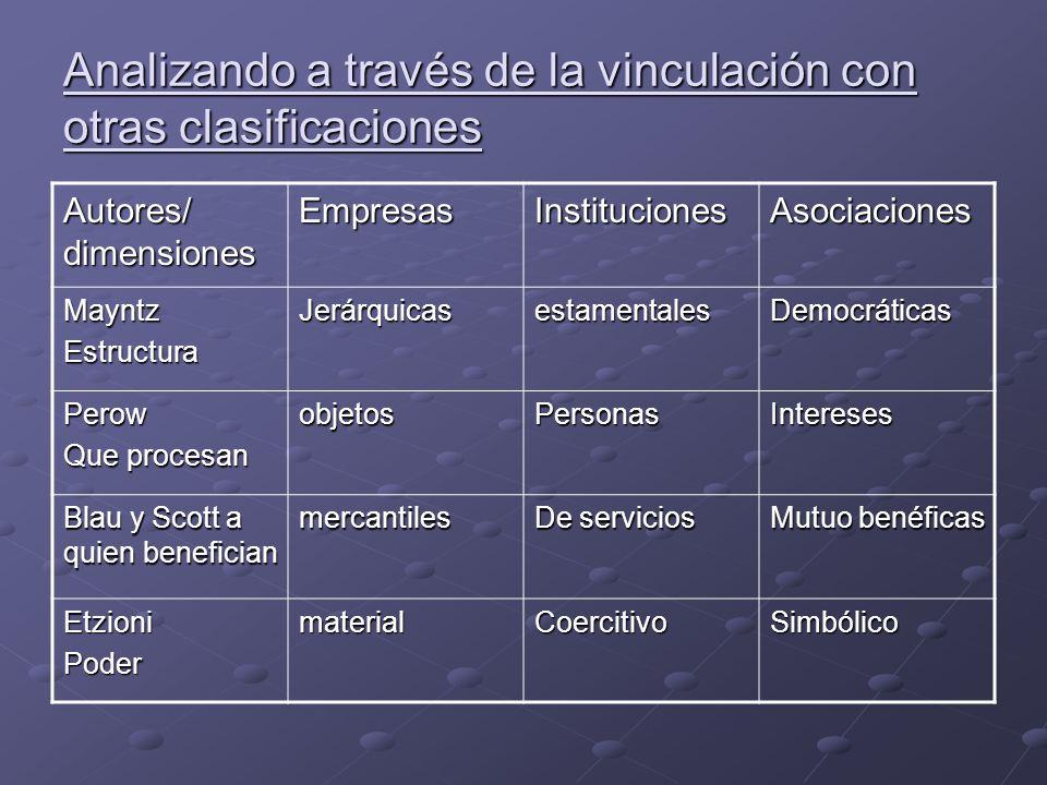 Analizando a través de la vinculación con otras clasificaciones