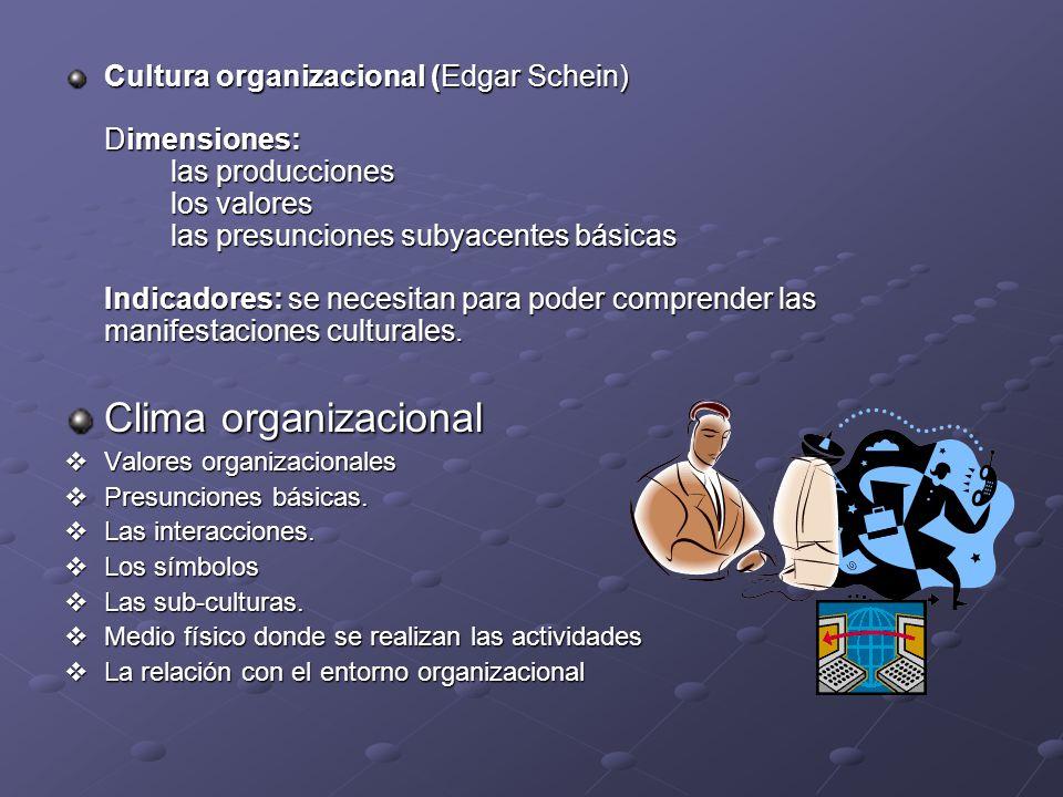 Cultura organizacional (Edgar Schein) Dimensiones:. las producciones