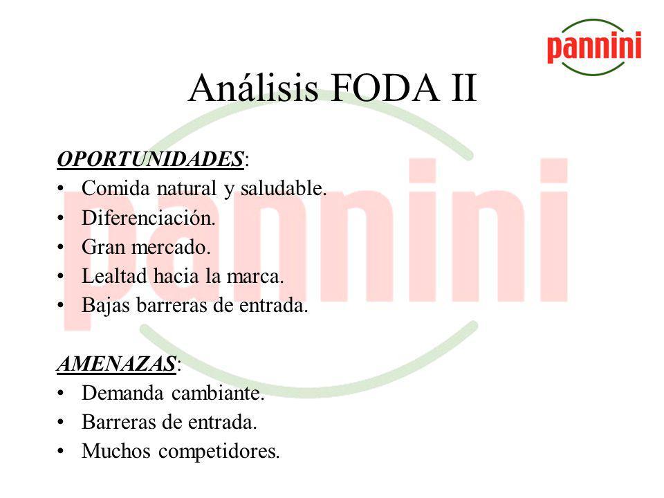 Análisis FODA II OPORTUNIDADES: Comida natural y saludable.