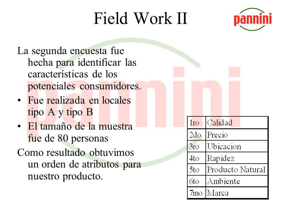 Field Work II La segunda encuesta fue hecha para identificar las características de los potenciales consumidores.