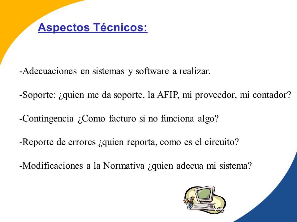 Aspectos Técnicos: -Adecuaciones en sistemas y software a realizar.