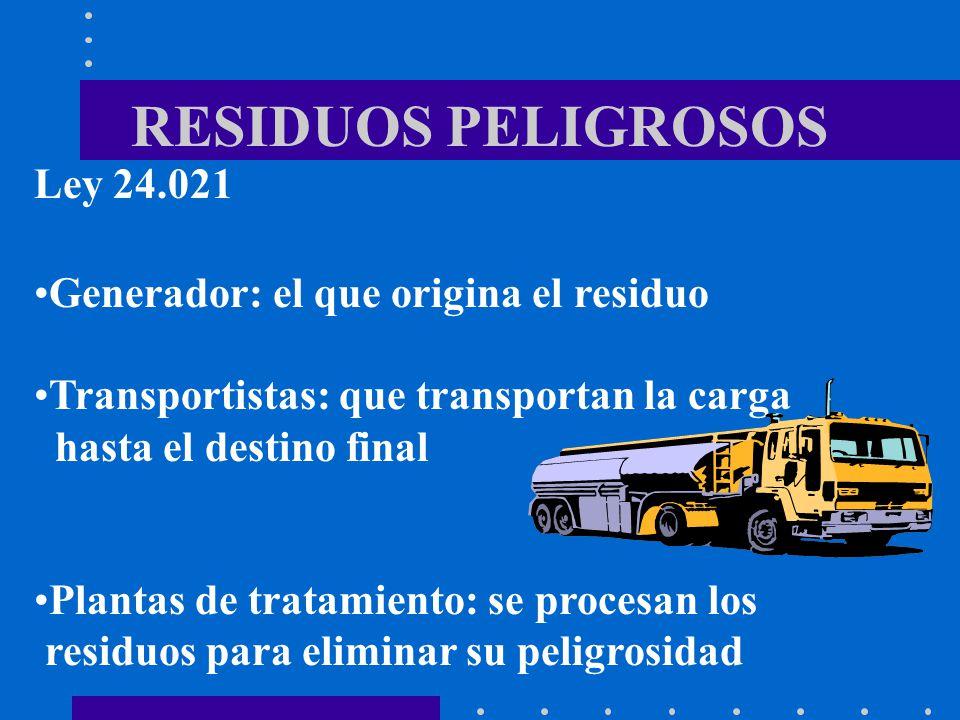 RESIDUOS PELIGROSOS Ley 24.021 Generador: el que origina el residuo
