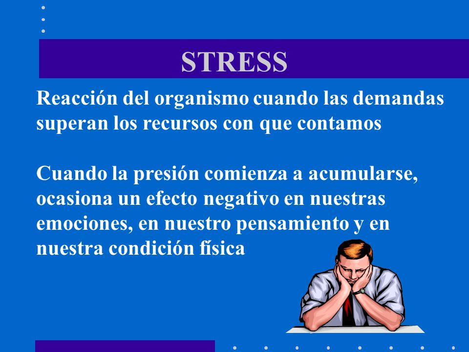 STRESS Reacción del organismo cuando las demandas