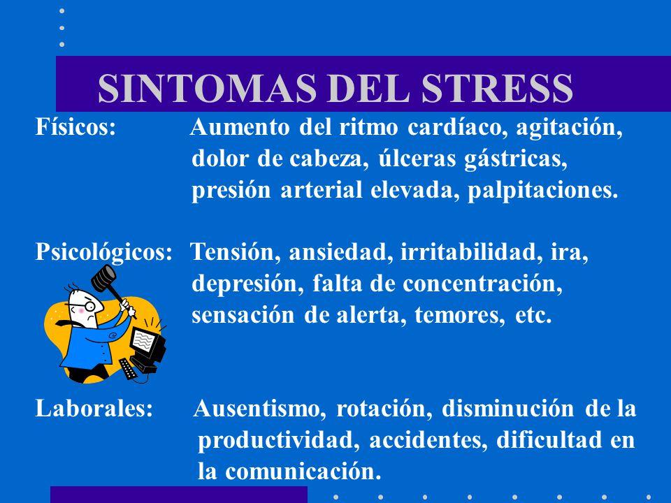 SINTOMAS DEL STRESS Físicos: Aumento del ritmo cardíaco, agitación,