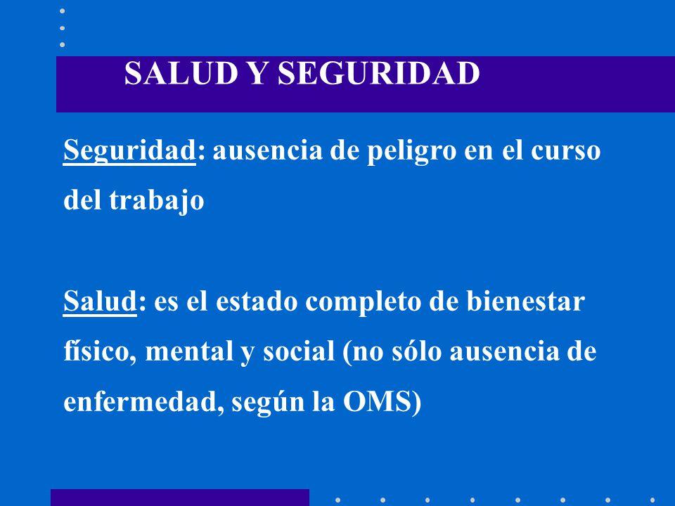 SALUD Y SEGURIDAD Seguridad: ausencia de peligro en el curso del trabajo. Salud: es el estado completo de bienestar.