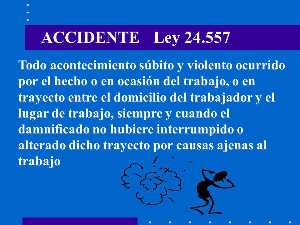 ACCIDENTE Ley 24.557 Todo acontecimiento súbito y violento ocurrido