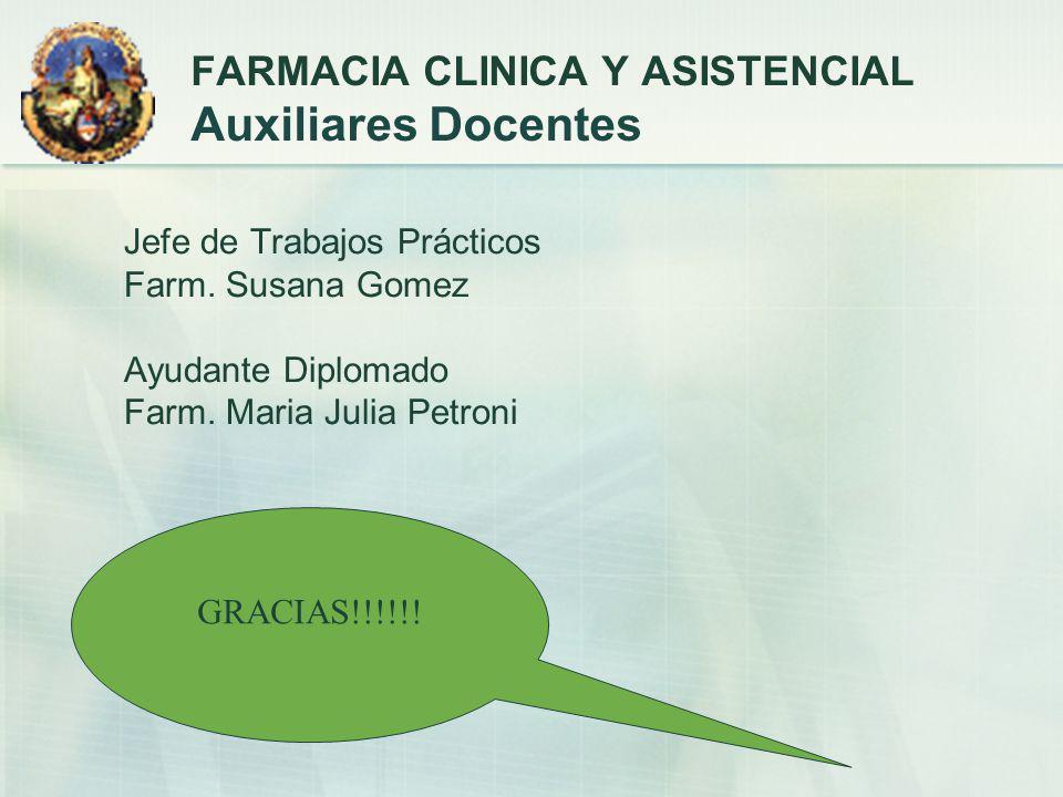 FARMACIA CLINICA Y ASISTENCIAL Auxiliares Docentes
