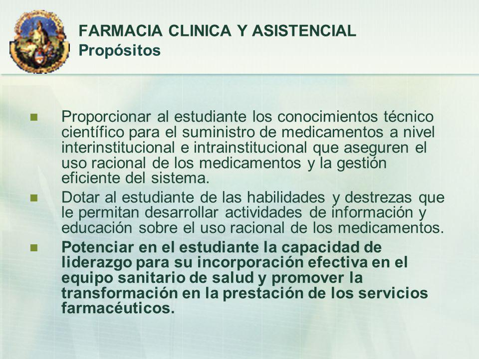 FARMACIA CLINICA Y ASISTENCIAL Propósitos