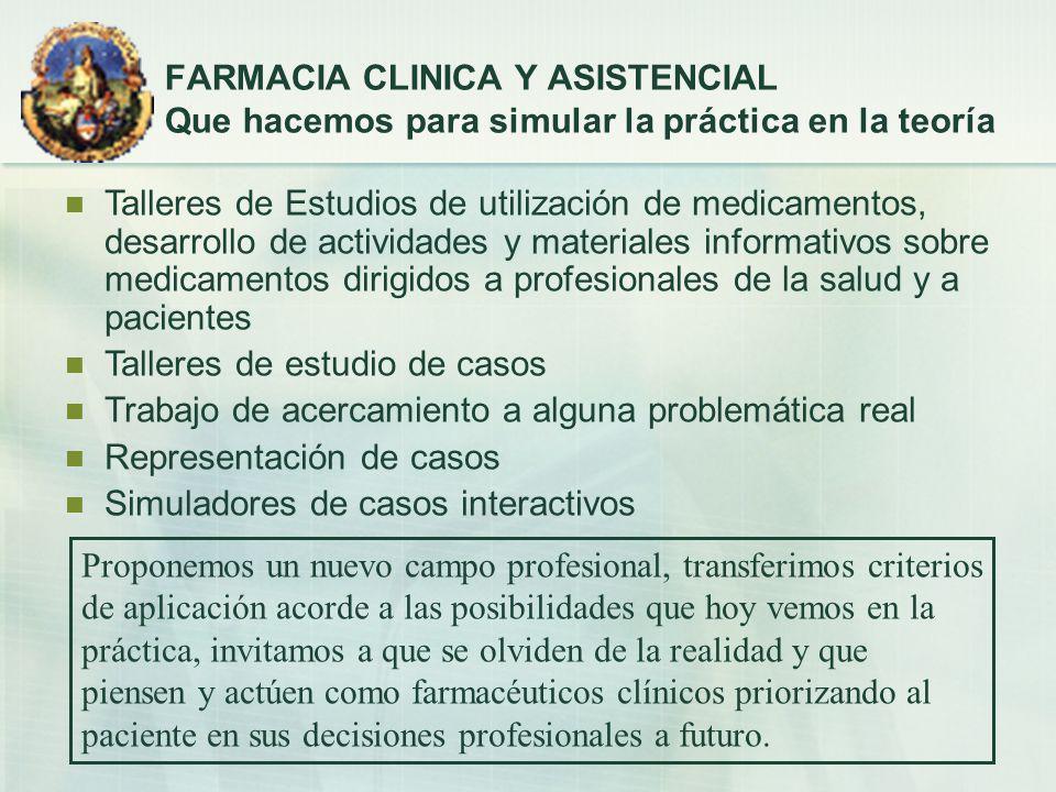 FARMACIA CLINICA Y ASISTENCIAL Que hacemos para simular la práctica en la teoría