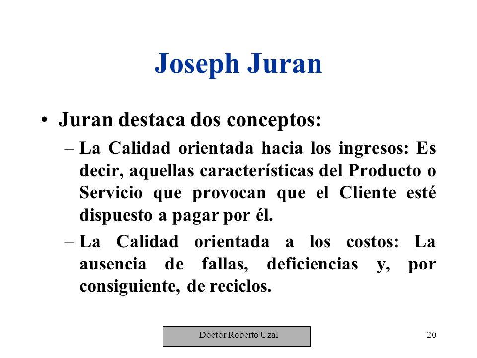 Joseph Juran Juran destaca dos conceptos: