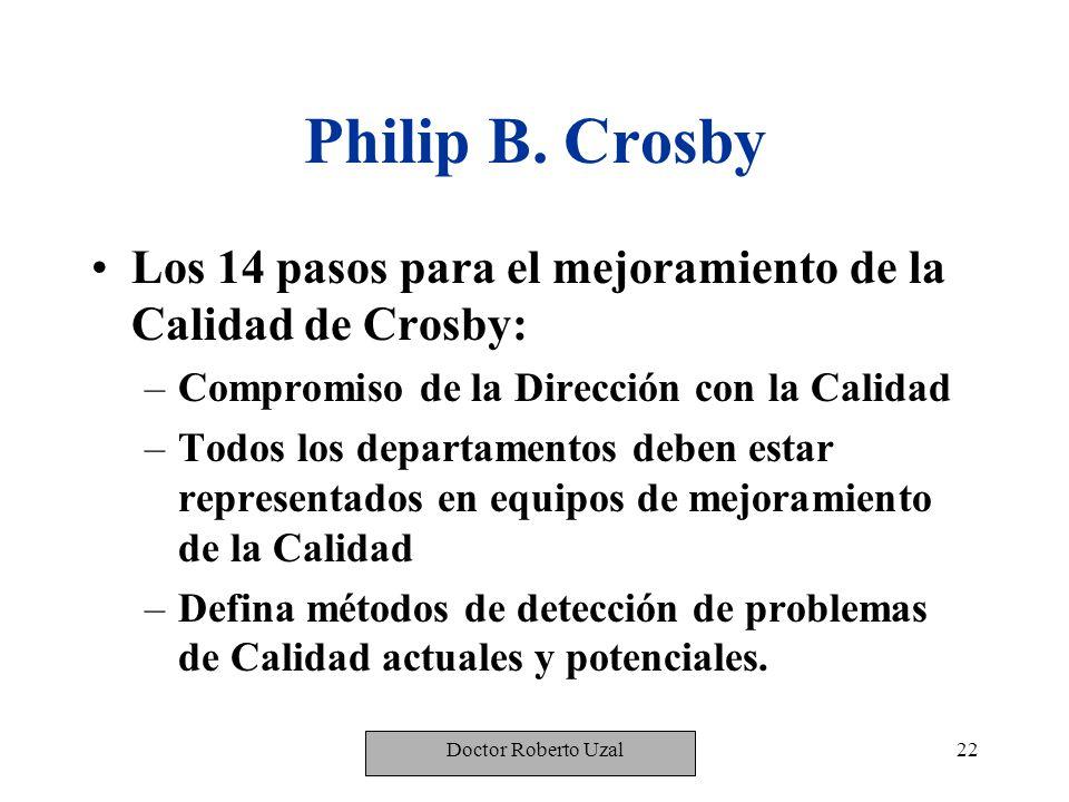 Philip B. Crosby Los 14 pasos para el mejoramiento de la Calidad de Crosby: Compromiso de la Dirección con la Calidad.