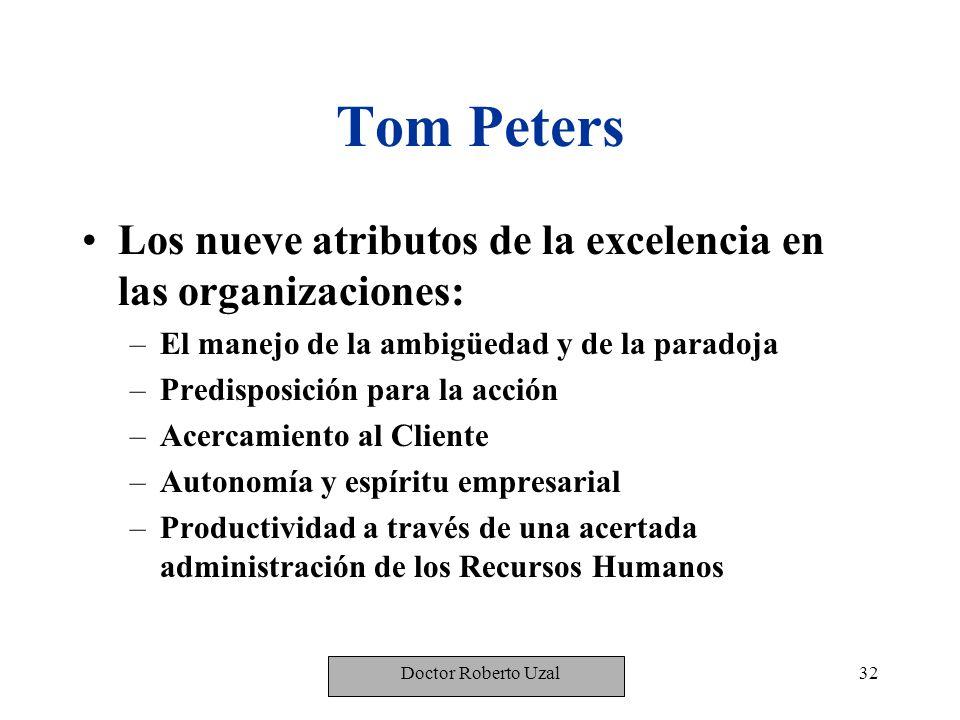 Tom Peters Los nueve atributos de la excelencia en las organizaciones:
