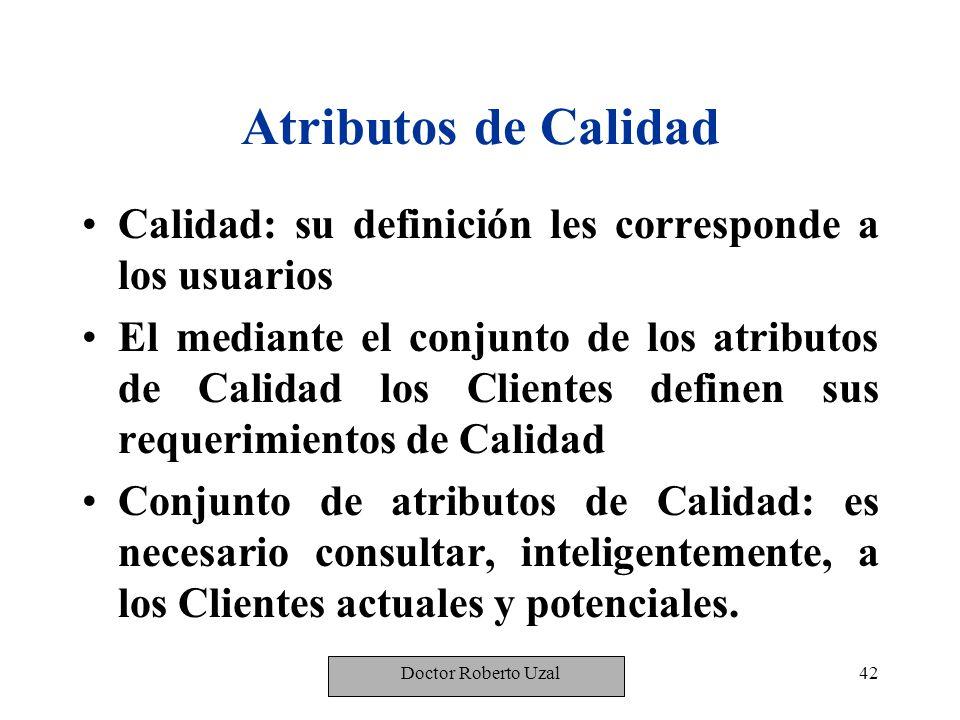 Atributos de Calidad Calidad: su definición les corresponde a los usuarios.