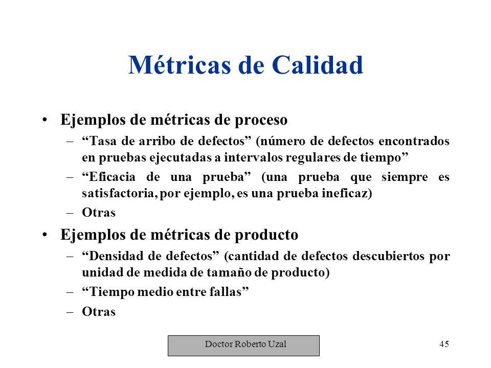 Métricas de Calidad Ejemplos de métricas de proceso