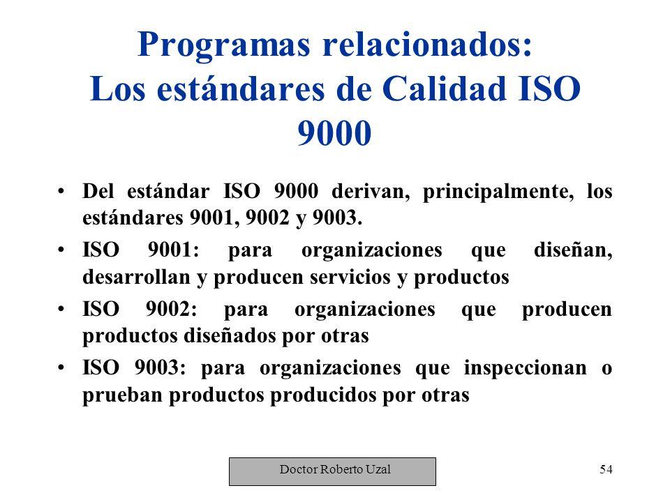 Programas relacionados: Los estándares de Calidad ISO 9000