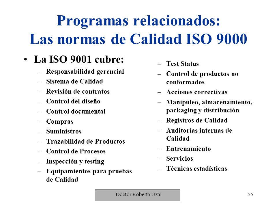 Programas relacionados: Las normas de Calidad ISO 9000