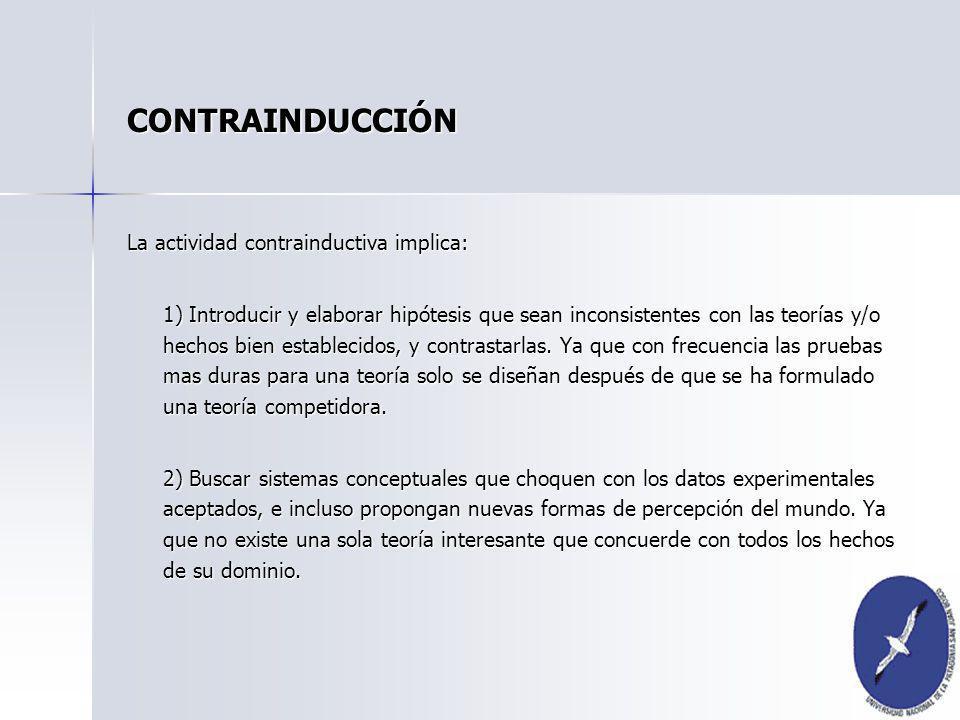 CONTRAINDUCCIÓN La actividad contrainductiva implica: