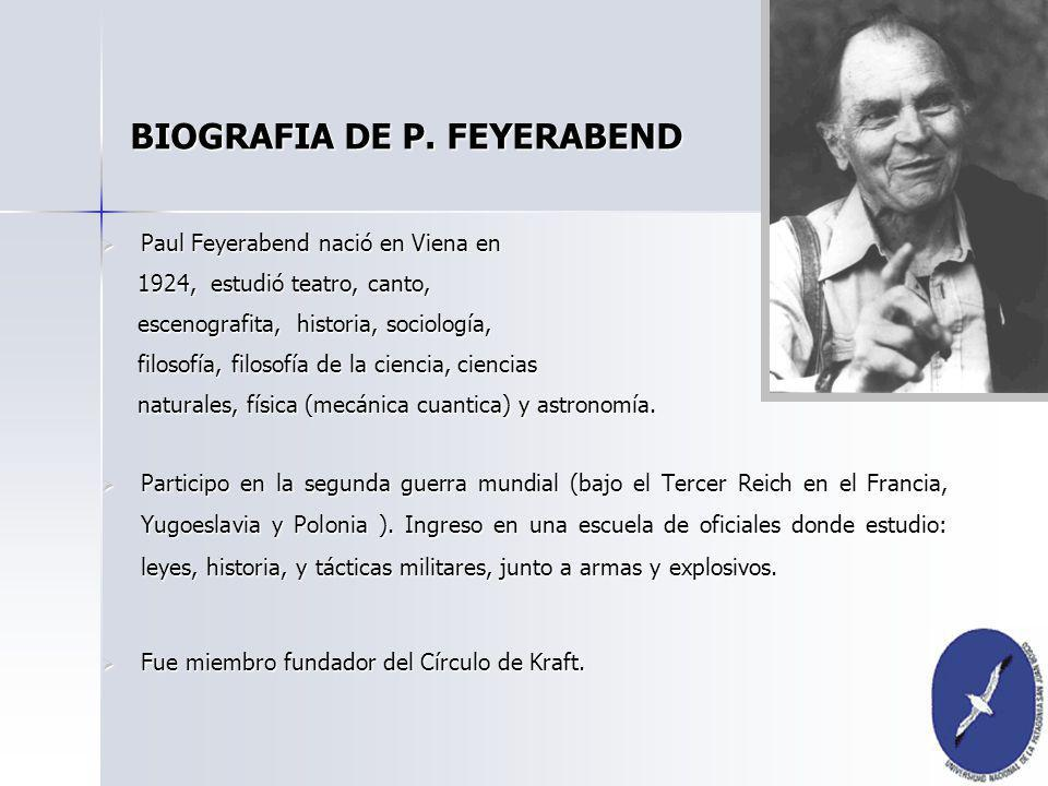 BIOGRAFIA DE P. FEYERABEND