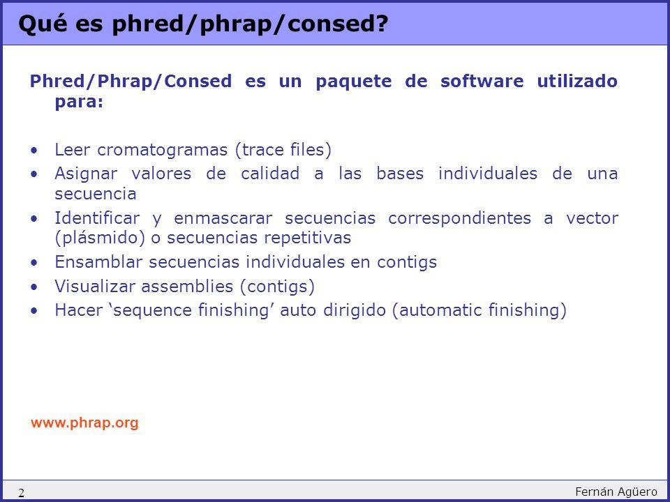 Qué es phred/phrap/consed