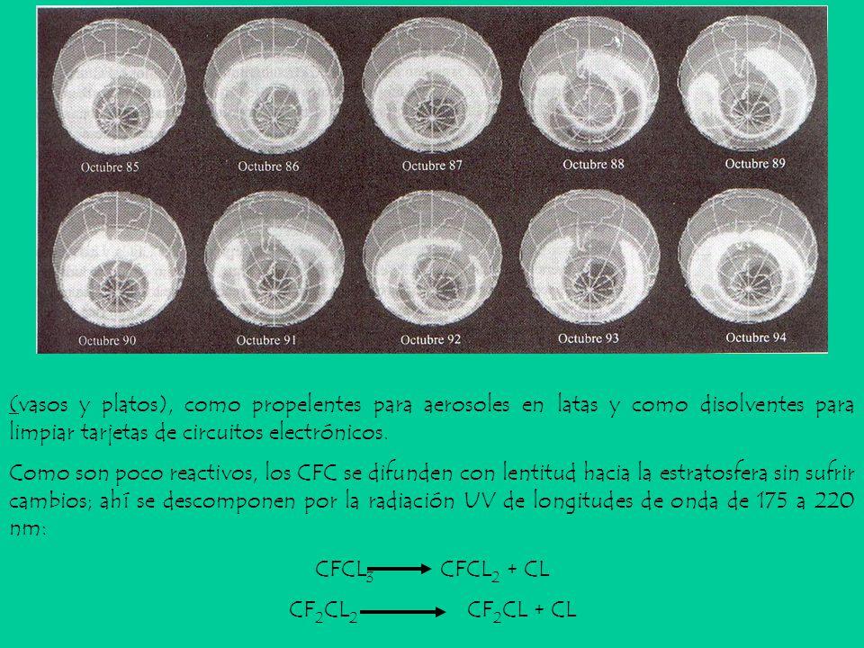 (vasos y platos), como propelentes para aerosoles en latas y como disolventes para limpiar tarjetas de circuitos electrónicos.