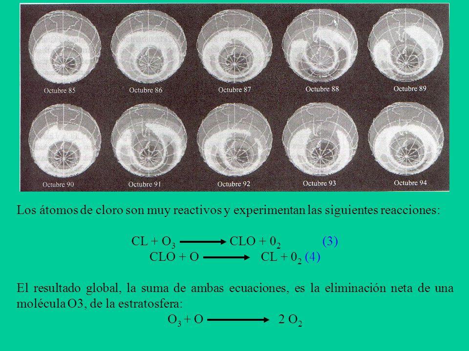 Los átomos de cloro son muy reactivos y experimentan las siguientes reacciones: