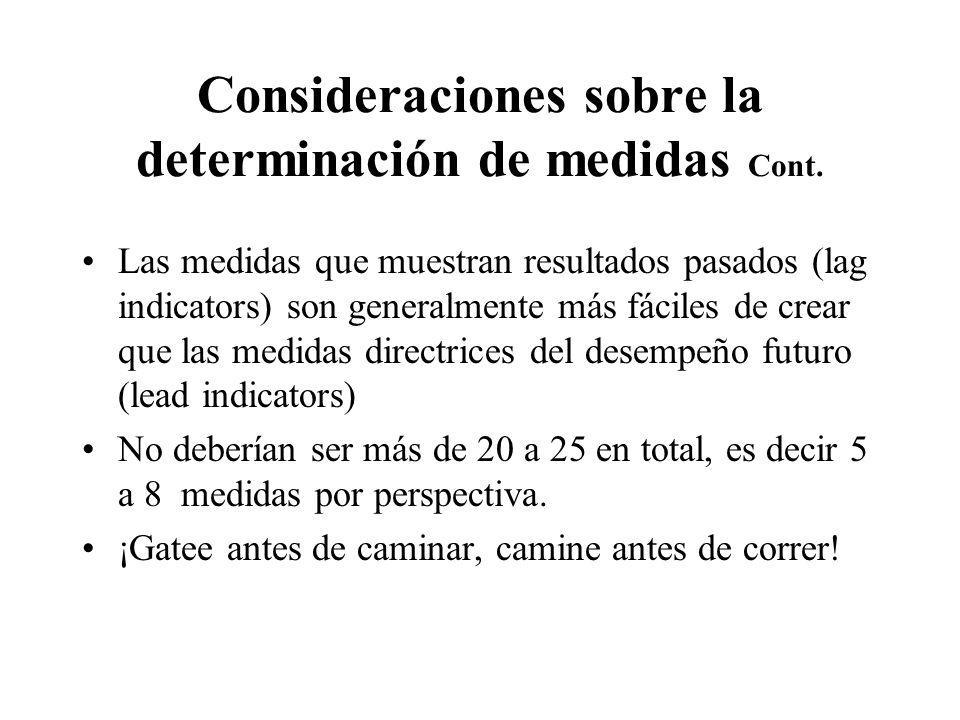 Consideraciones sobre la determinación de medidas Cont.