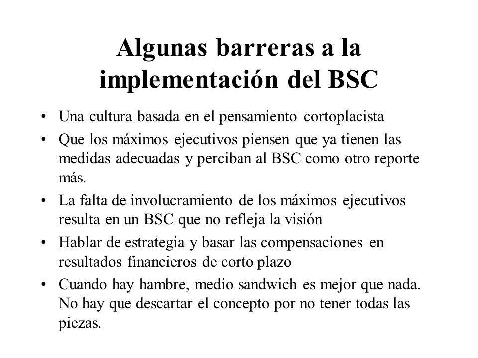 Algunas barreras a la implementación del BSC