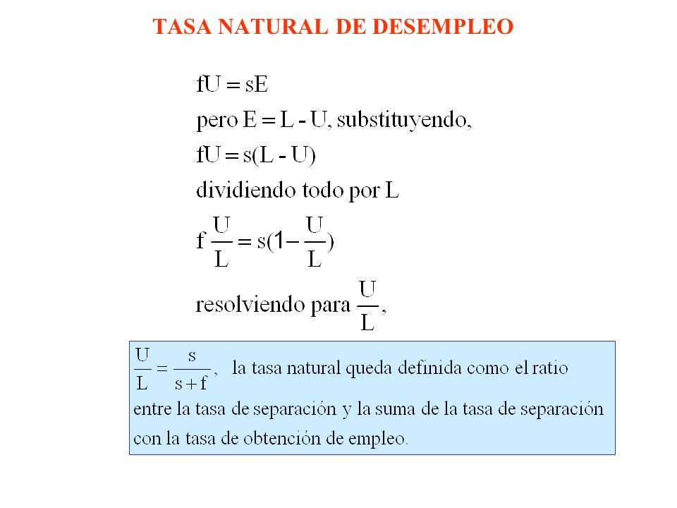 TASA NATURAL DE DESEMPLEO