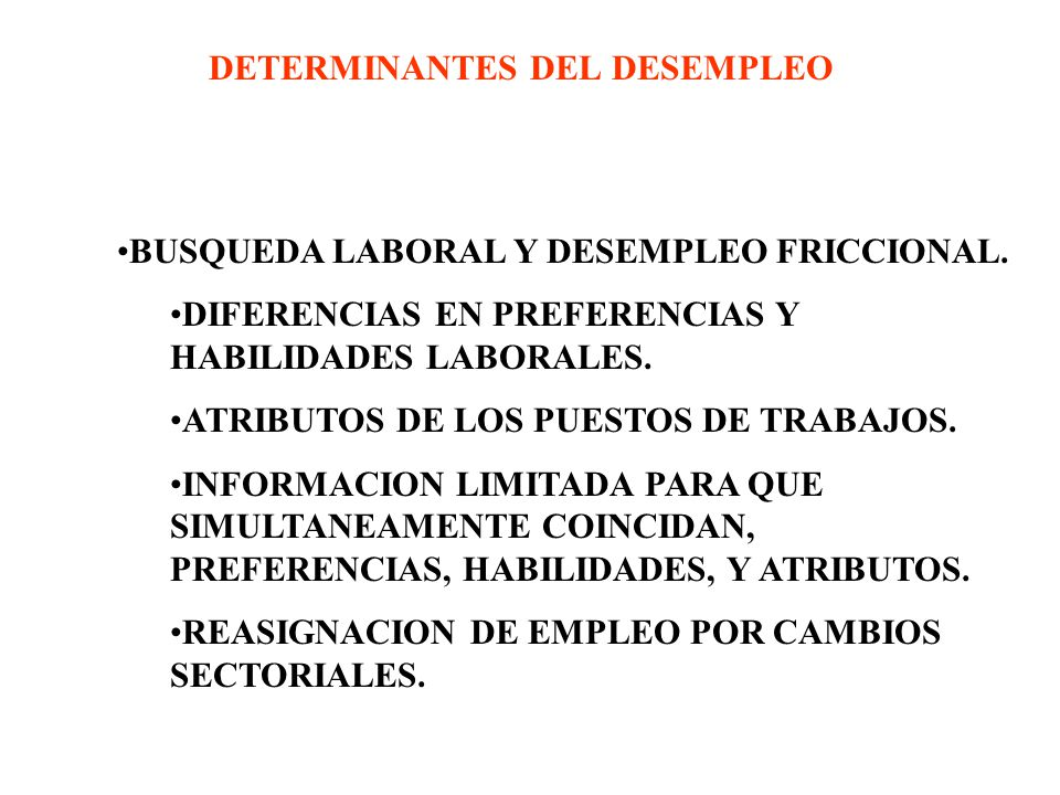 DETERMINANTES DEL DESEMPLEO
