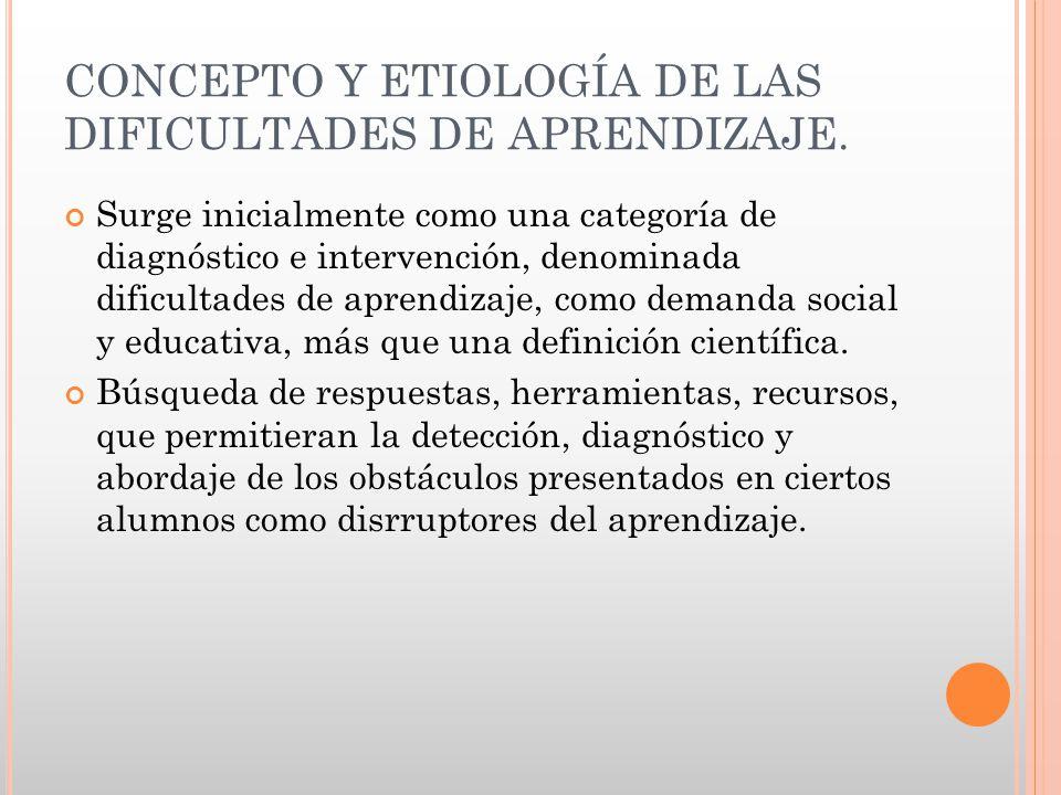 CONCEPTO Y ETIOLOGÍA DE LAS DIFICULTADES DE APRENDIZAJE.