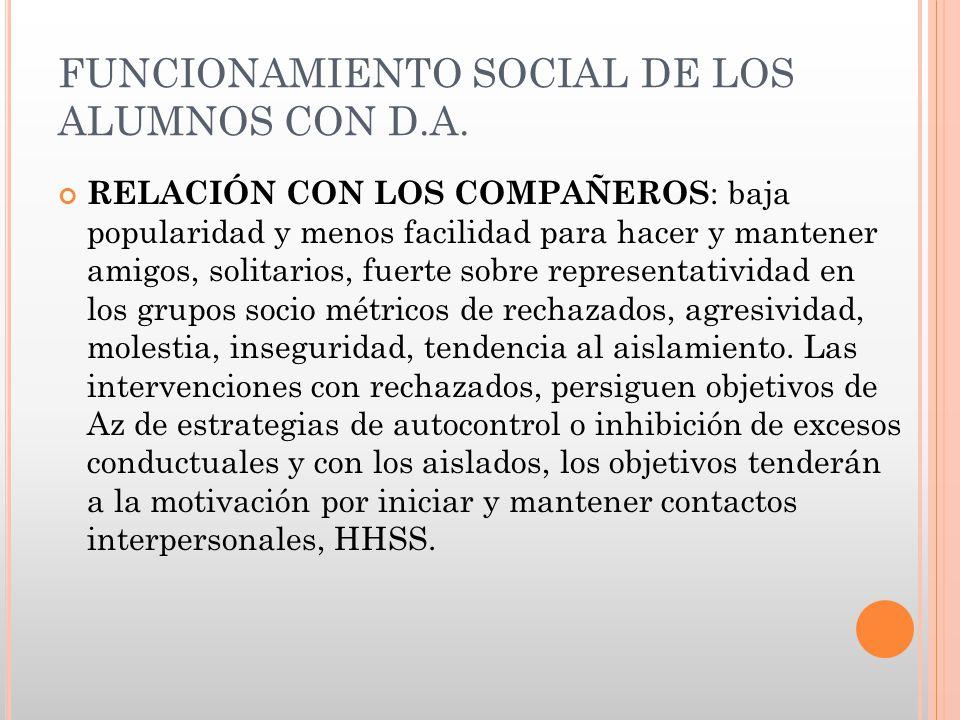 FUNCIONAMIENTO SOCIAL DE LOS ALUMNOS CON D.A.