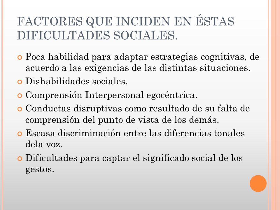 FACTORES QUE INCIDEN EN ÉSTAS DIFICULTADES SOCIALES.