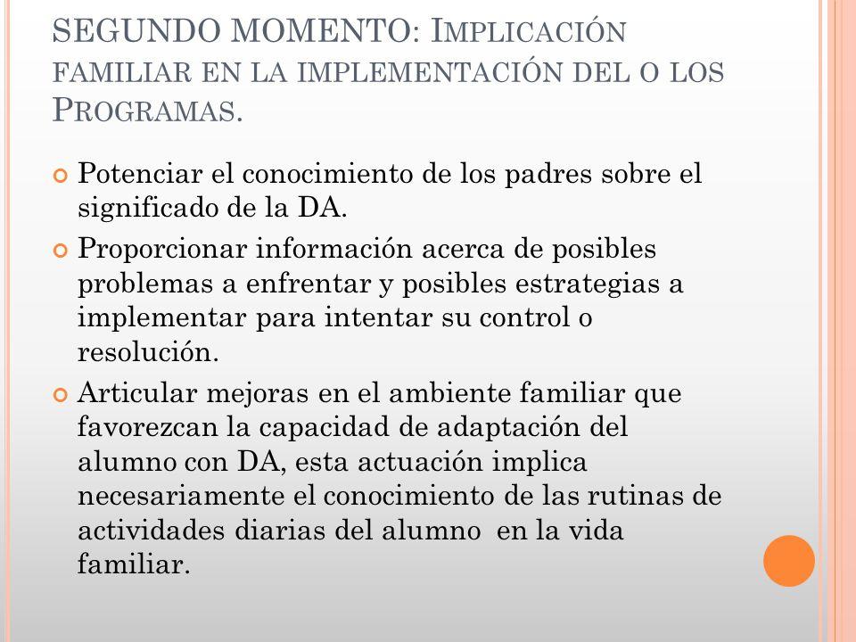 SEGUNDO MOMENTO: Implicación familiar en la implementación del o los Programas.